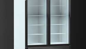 Køleskab med glaslåge