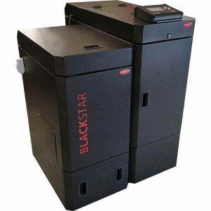 Scotte Mini – sammenbygget pillefyr med selvrensende røgkøler (Blackstar BS1016) – 16 Kw